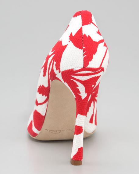 Floral-Print Fabric Pump
