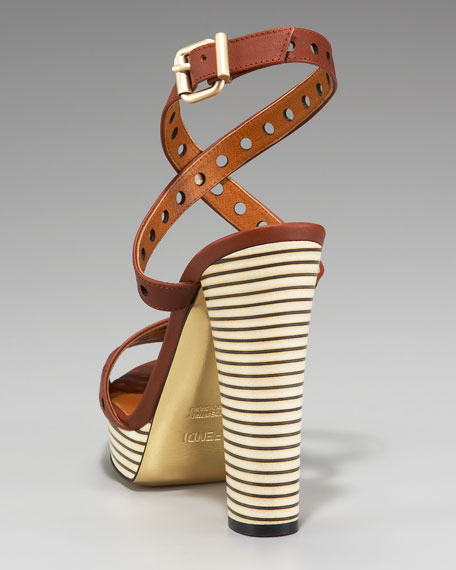 Perforated Ankle-Wrap Platform Sandal