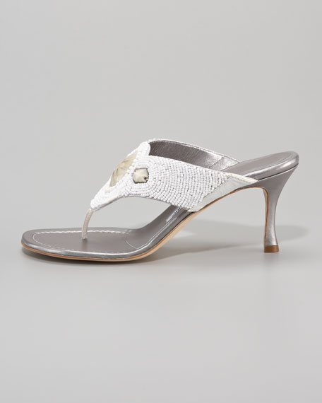 Fellin Beaded Mid-Heel Thong Sandal