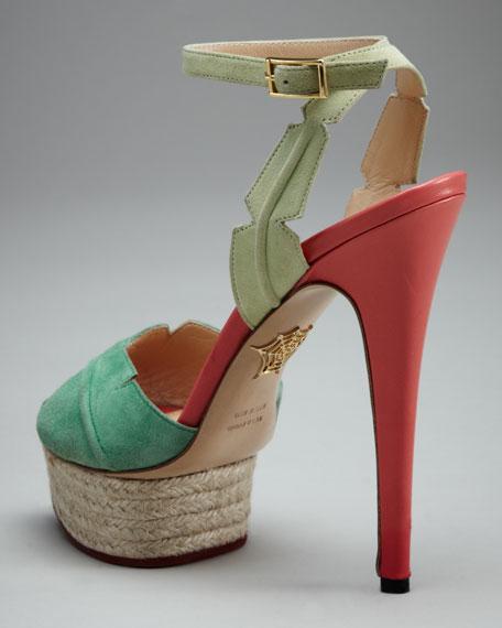Isla Leaf Espadrille-Platform Sandal