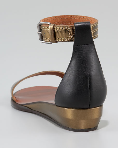 Ankle-Wrap Low-Wedge Sandal