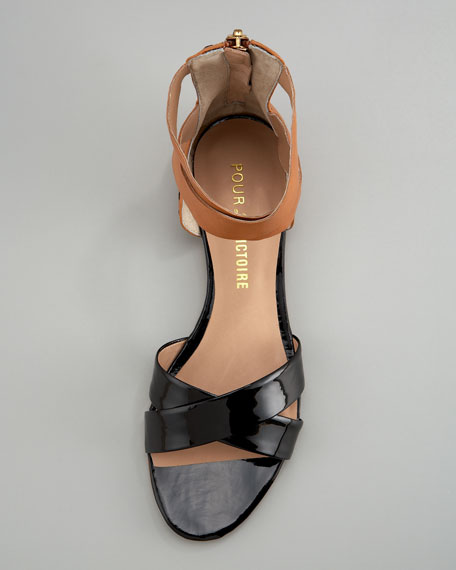 Fabia Patent-Matte Leather Sandal