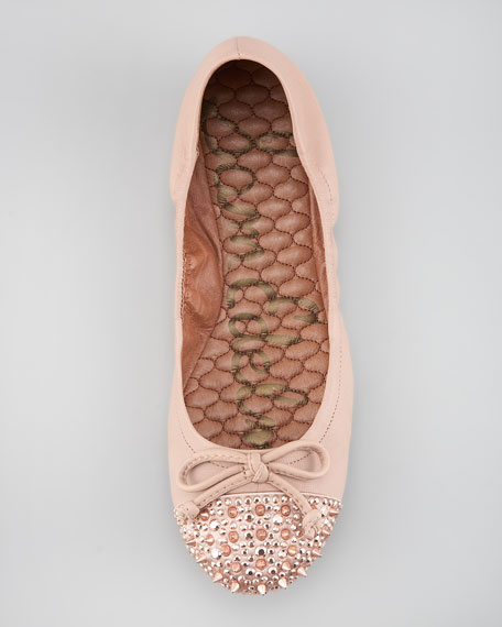 Spiked Cap-Toe Ballet Flat, Rose