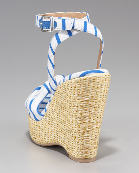 Lustful Striped Espadrille Wedge Sandal