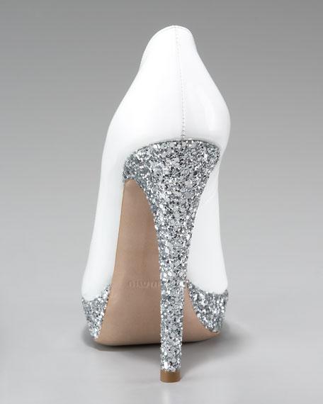 Glitter-Heel Patent Pump