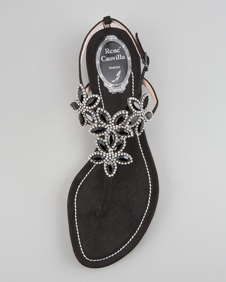 Crystal-Flower Thong Sandal