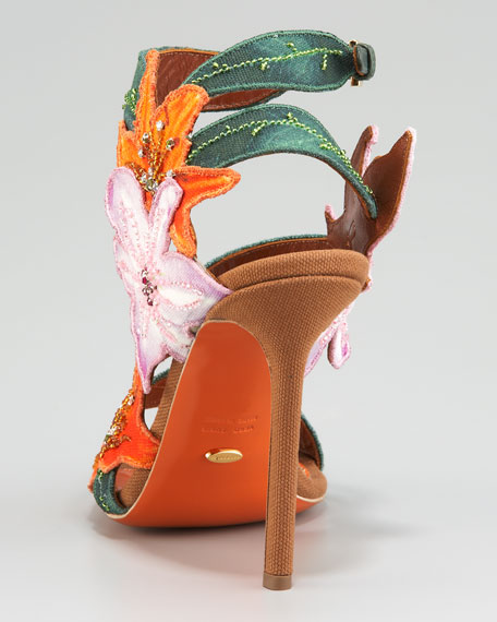 Embroidered Canvas Flower Sandal