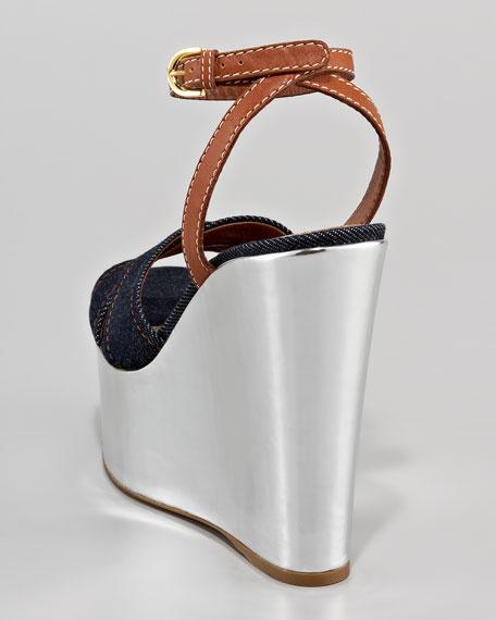 Metallic-Wedge Colorblock Sandal