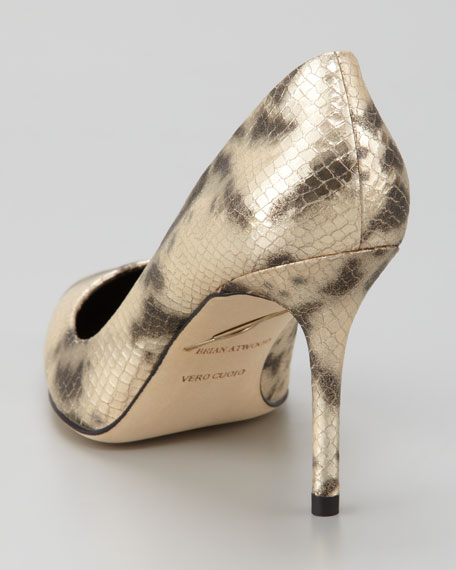 Malika Mid-Heel Snake-Print Point-Toe Pump