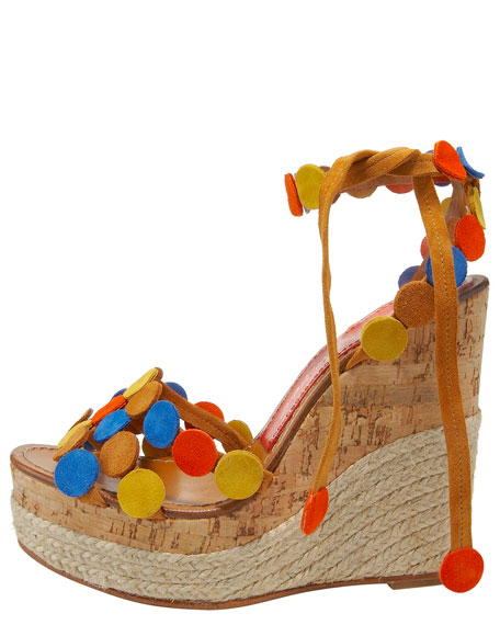 Suede-Dot Wedge Espadrille, Whisky