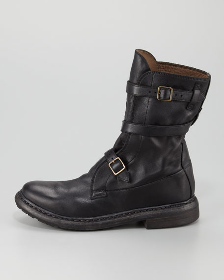 Strapped Flat Motorcycle Boot