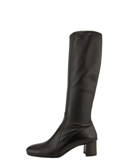Stretch Leather Pull-On Boot