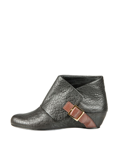 Draped-Panel Ankle Boot