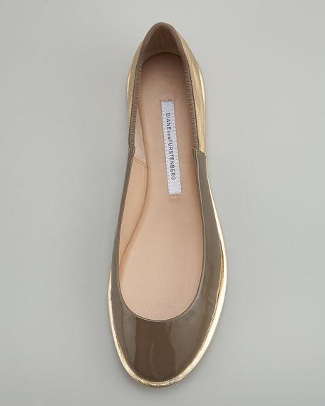 Botswana Two-Tone Ballerina Flat, Khaki
