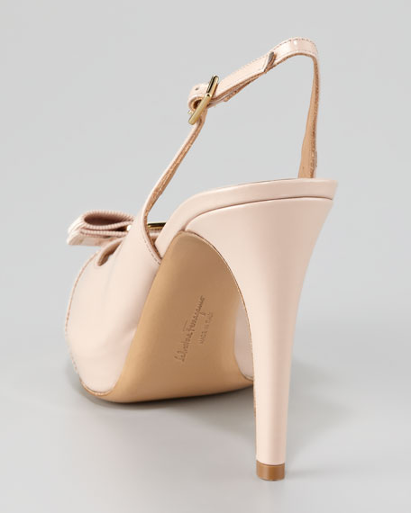 Tea Peep-Toe Patent Leather Pump