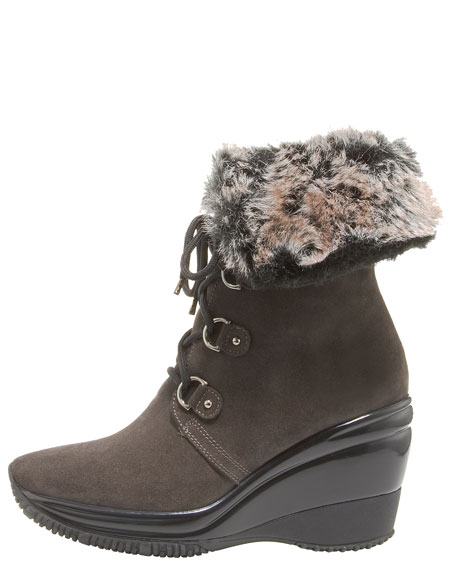 Weatherproof Lace-Up Wedge Boot