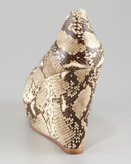 Fleur Snake-Printed Platform Wedge