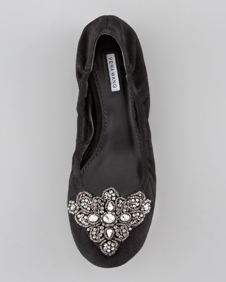 Loriana Jeweled-Toe Ballerina