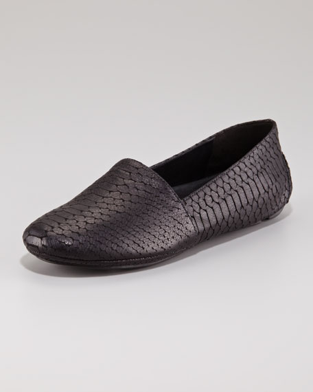 Map Embossed Snake Driver Slip-On