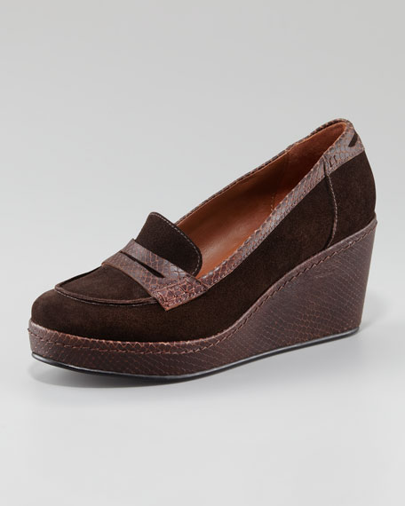 Geniva Snake-Embossed Trim Loafer Wedge