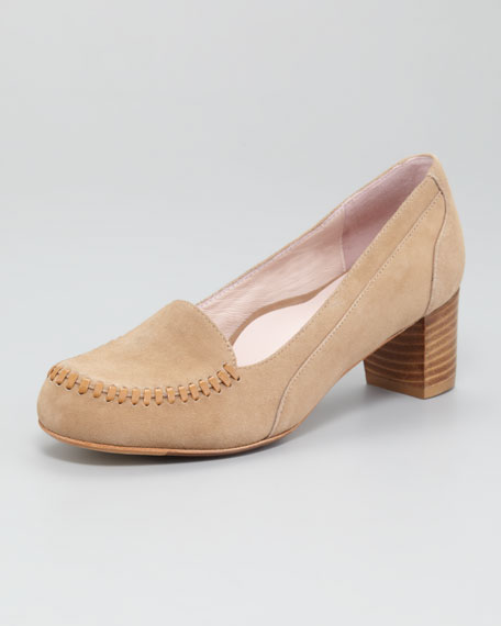 Joy Topstitched Low-Heel Loafer