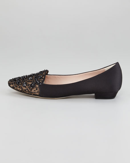 Satin and Lace Embellished Loafer