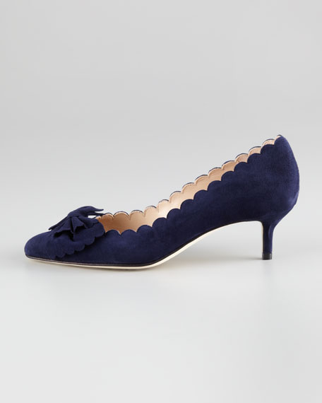Oscar de la Renta Scalloped Bow-Toe Kitten-Heel Pump