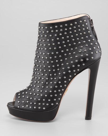 Studded Leather Peep-Toe Ankle Boot