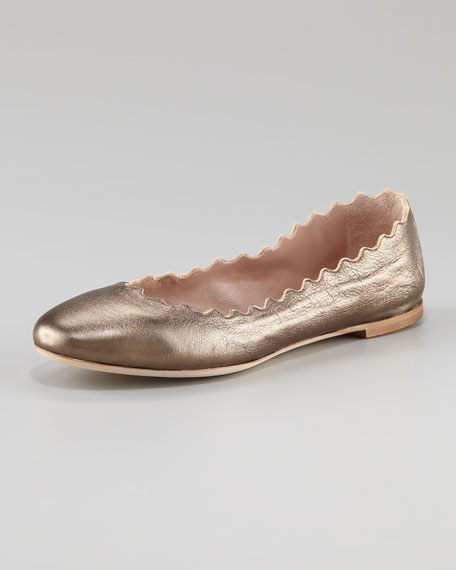 Metallic Scallop Ballerina Flat