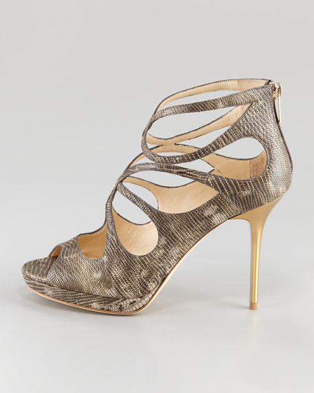 Latin Lizard-Embossed Leather Sandal