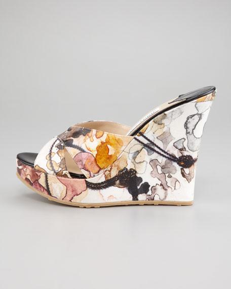 Phyllis Floral Wedge Slide