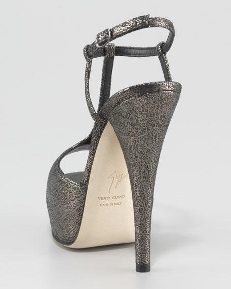 Crackled T-Strap Platform Sandal