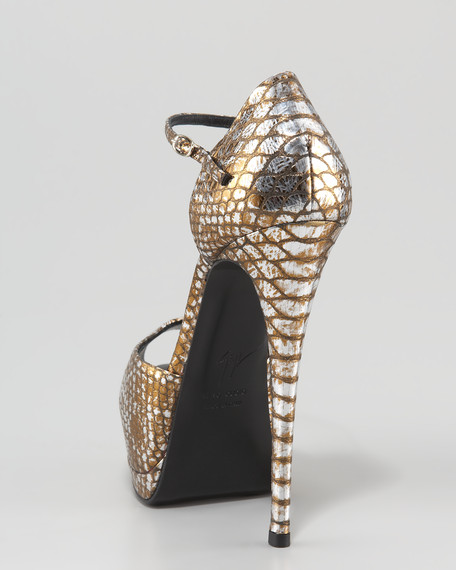 Snake-Embossed Ankle-Strap d'Orsay