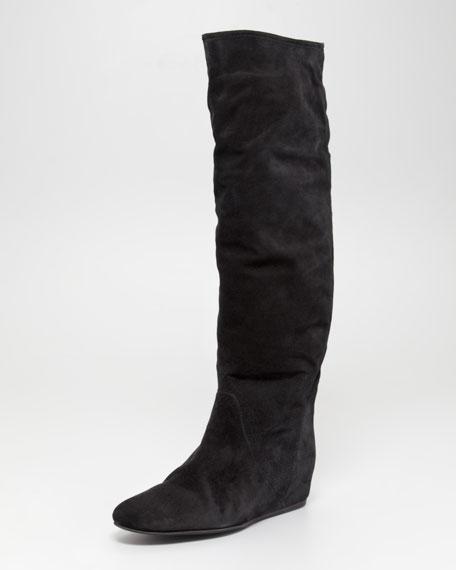 Hidden-Wedge Suede Boot