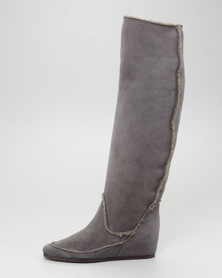 Shearling Hidden-Wedge Boot