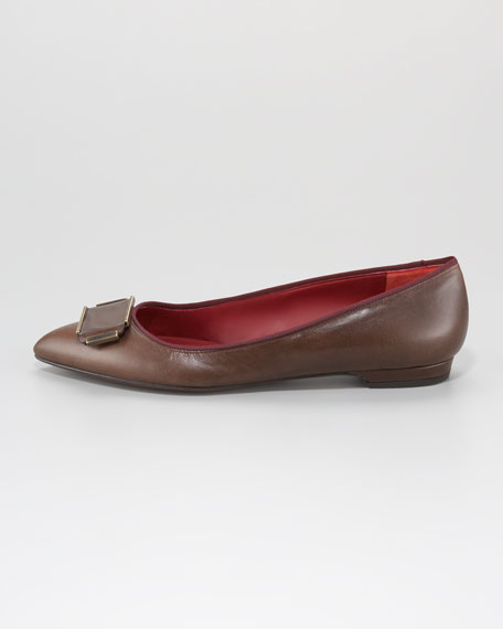 Leather Pointed-Toe Flat