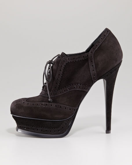 Tribute Lace-Up Suede Bootie, Black