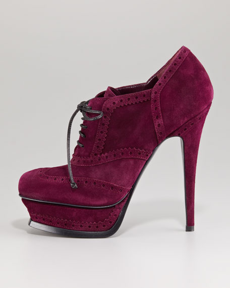 Tribute Lace-Up Suede Bootie, Sloe