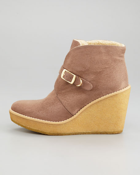 Faux Shearling Wedge Bootie