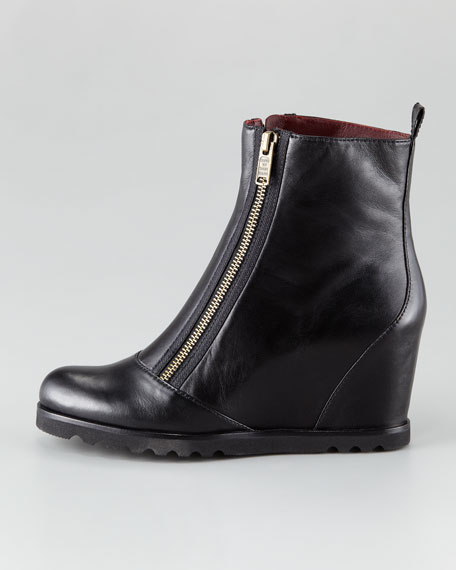 Double-Zip Wedge Bootie
