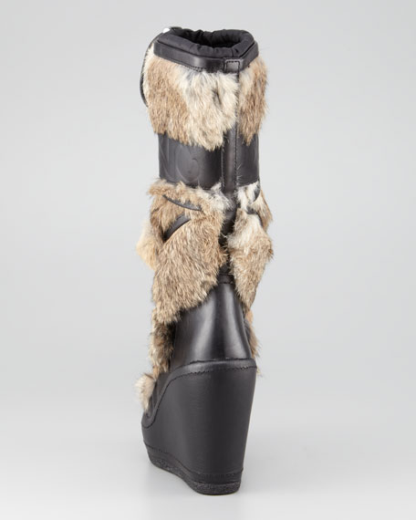 Fur-Front Wedge Boot