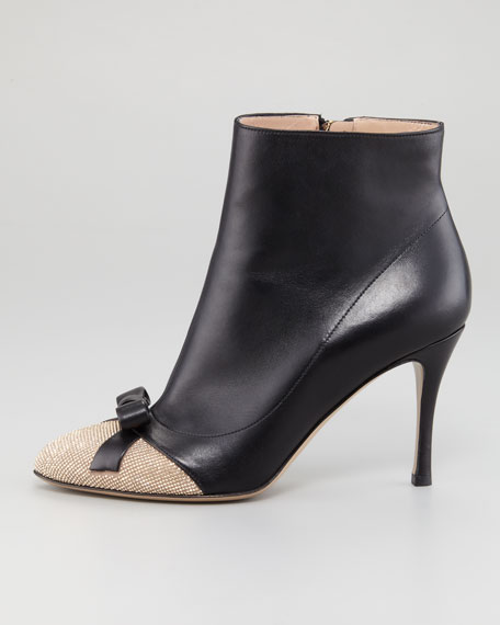 Micro-Studded Cap-Toe Ankle Boot