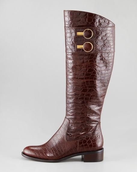 Jaqueline Crocodile-Embossed Riding Boot, Dark Brown