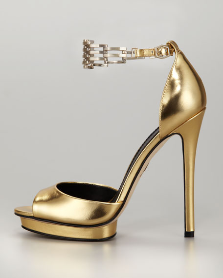 Cassise Metallic Leather Chain-Strap Sandal