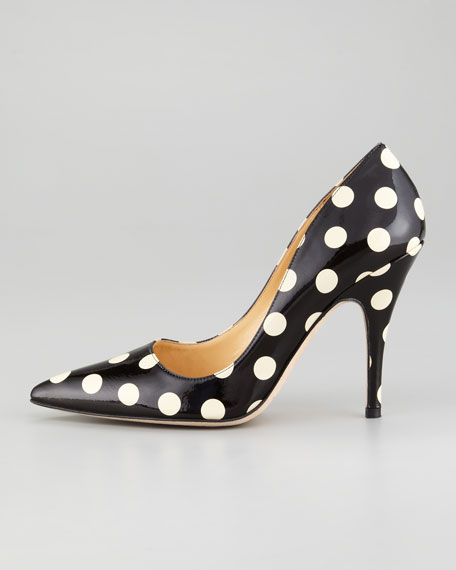 licorice polka-dot patent leather pump