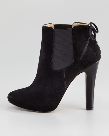 Clara Gored Back-Lace Ankle Boot, Black