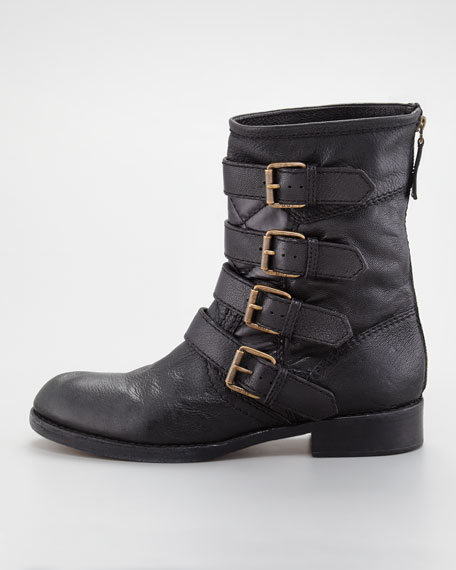 Multi-Buckle Biker Runway Boot