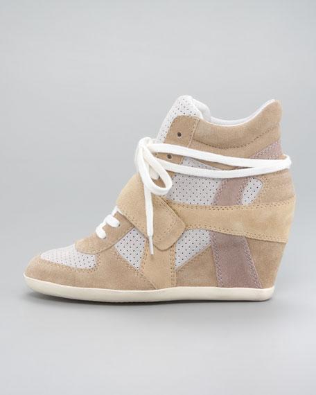 Suede Wedge Sneaker, Sand