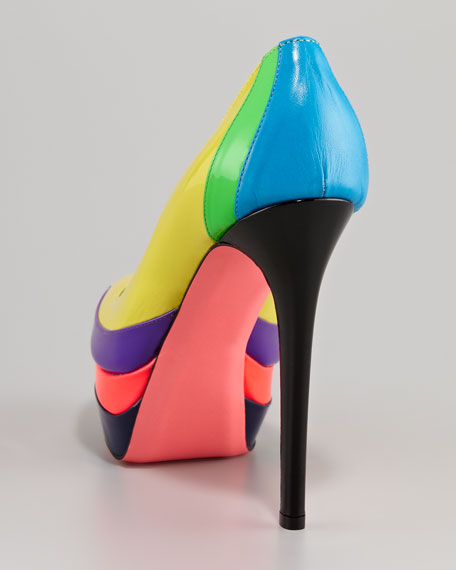 Patent Leather Colorblock Pump
