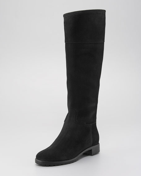 Suede Flat Riding Boot